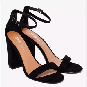 Nasty Gal faux suede black take the strap open toe